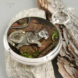 Upcycled art cat sculpture of watch parts