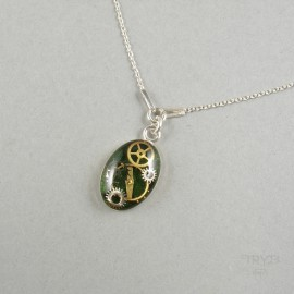 Green sterling silver necklace with watch gears