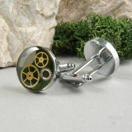 Green cufflinks with watch cogs