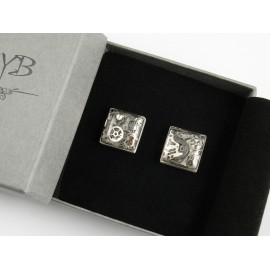 Industrial cufflinks from silver and watch parts