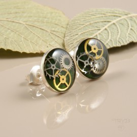 Sterling silver ear studs with watch cogs in green