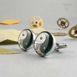 Hand made cufflinks with yin yang symbol