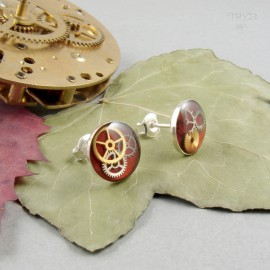 Red stud earrings from silver and watch gears