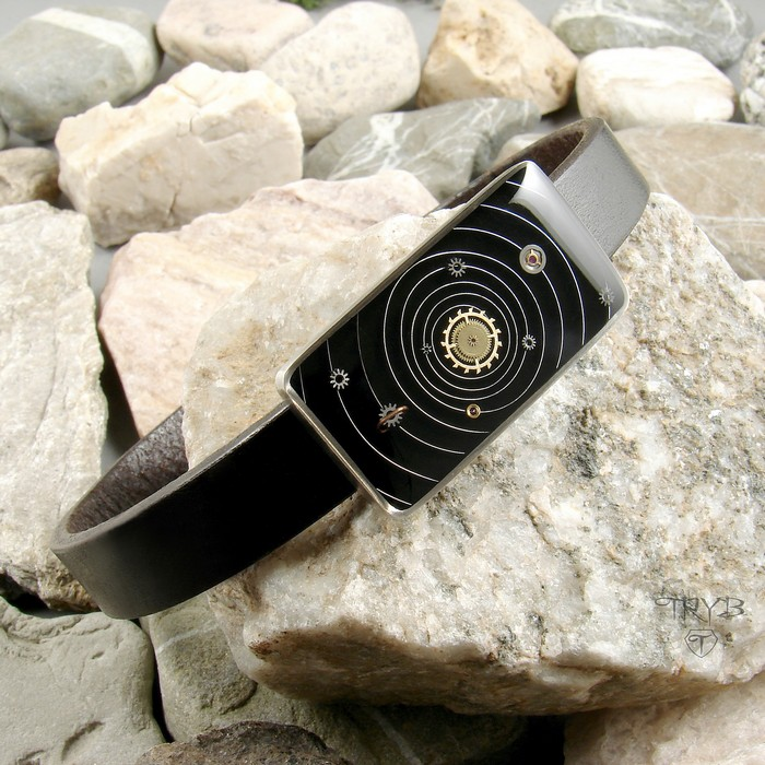Solar System men's bracelet from silver, natural leather and watch parts