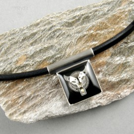 Steampunk wolf necklace for him
