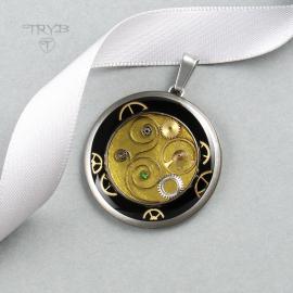 Limonkowa zawieszka steampunk z mechanizmów zegarków
