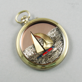 Sailboat pendant of old watch movements