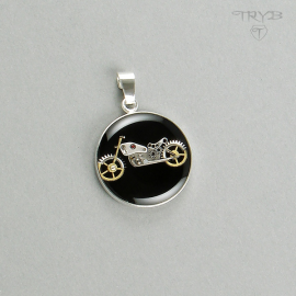Sterling silver steampunk motorcycle pendant