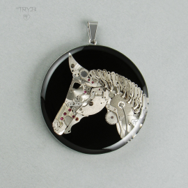 Hand made horse pendant of watch parts