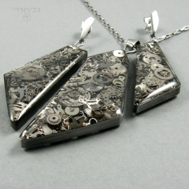 Industry crystals - asymmetrical jewelry set