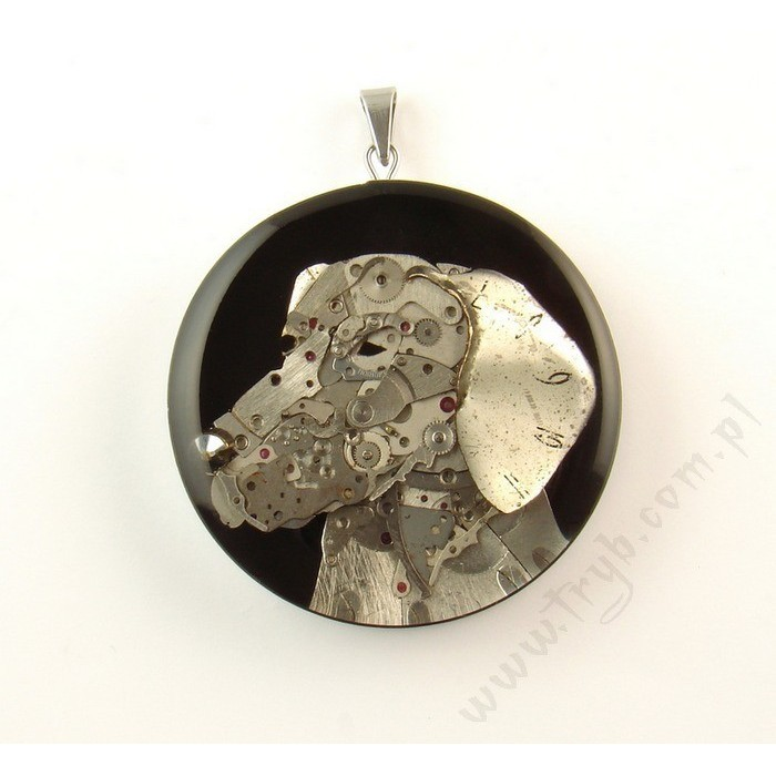 Miniature Polish Hunting Dog sculpture of watch parts