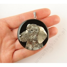 Hand made pendant with a Polish Hunting Dog