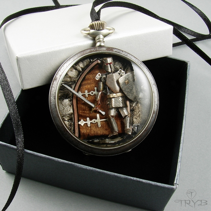 The guardian necklace hand made of watch parts