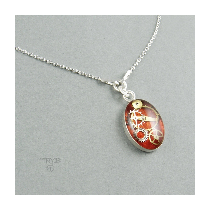 Delicate red necklace from sterling silver and gears