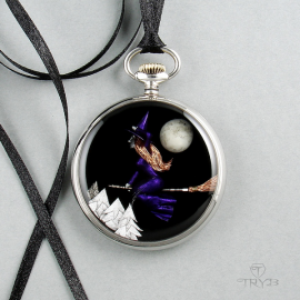 Pendant with a witch. Jewelry for witches