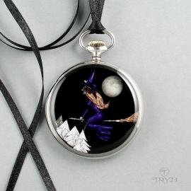 Naszyjnik z czarownicą na miotle - biżuteria dla wiedźm.