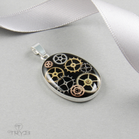 Sterling silver pendant with watch gears