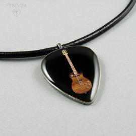 Gitara miniaturowa rzeźba z części zegarków i drewna