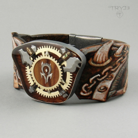 Unique men's bracelet leather, sterling silver and watch parts