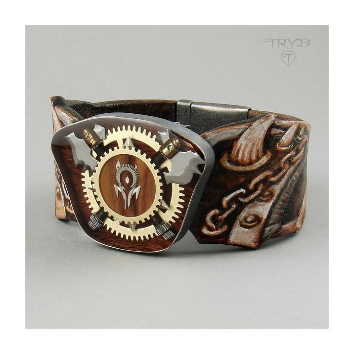 Unique men's bracelet leather, sterling silver and watch parts