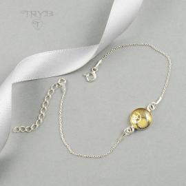 Srebrna bransoletka celebrytka z trybikami - perłowozłota