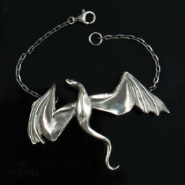 Sterling silver bracelet dragon art jewelry