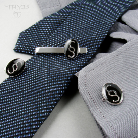 Custom made tie clip and cufflinks - men's jewelry set