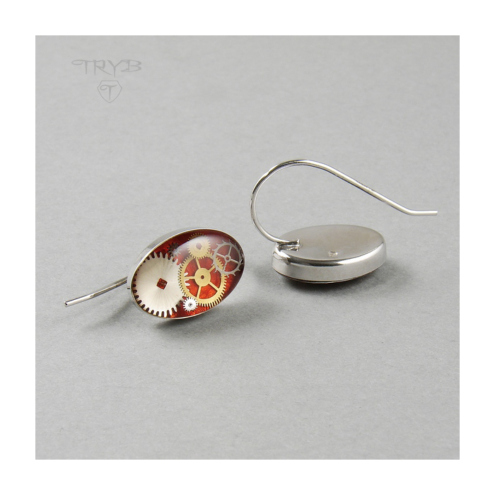 Oval red earrings from silver and watch cogs