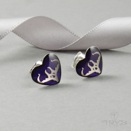 Violet stud earrings hearts rhodium plated silver