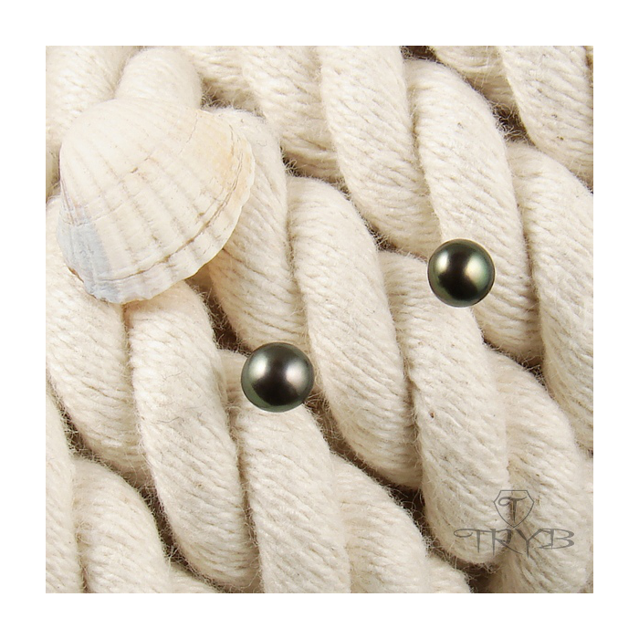 Srebrne kolczyki perły brązowe