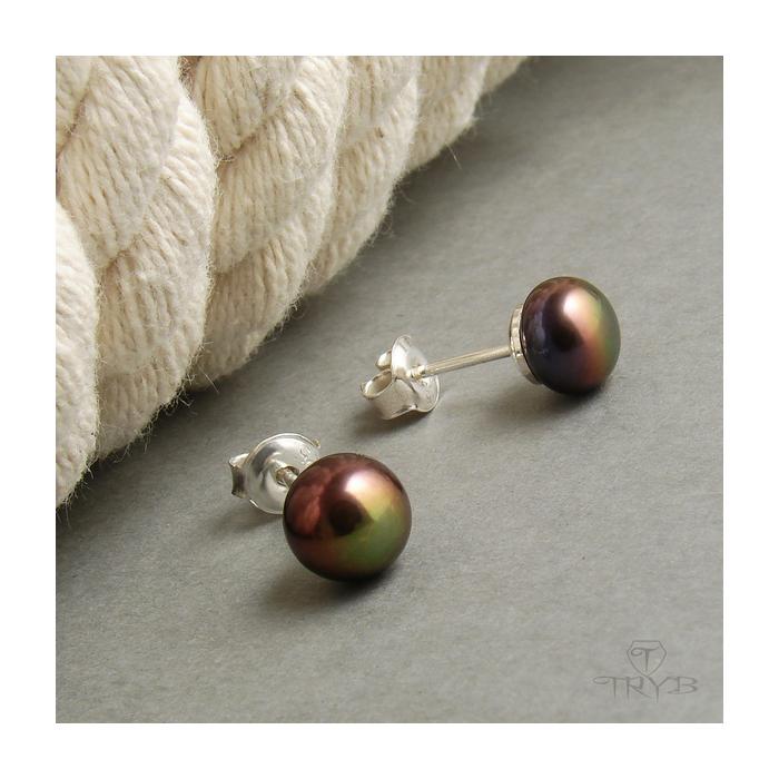 Srebrne kolczyki z perłą brązową