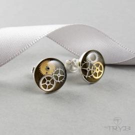 Sterling silver stud earrings cogs khaki