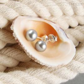 Srebrne kolczyki z perłą szarą na wkrętce