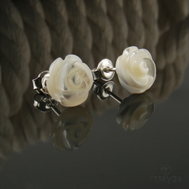 Sterling silver nacre roses ear studs