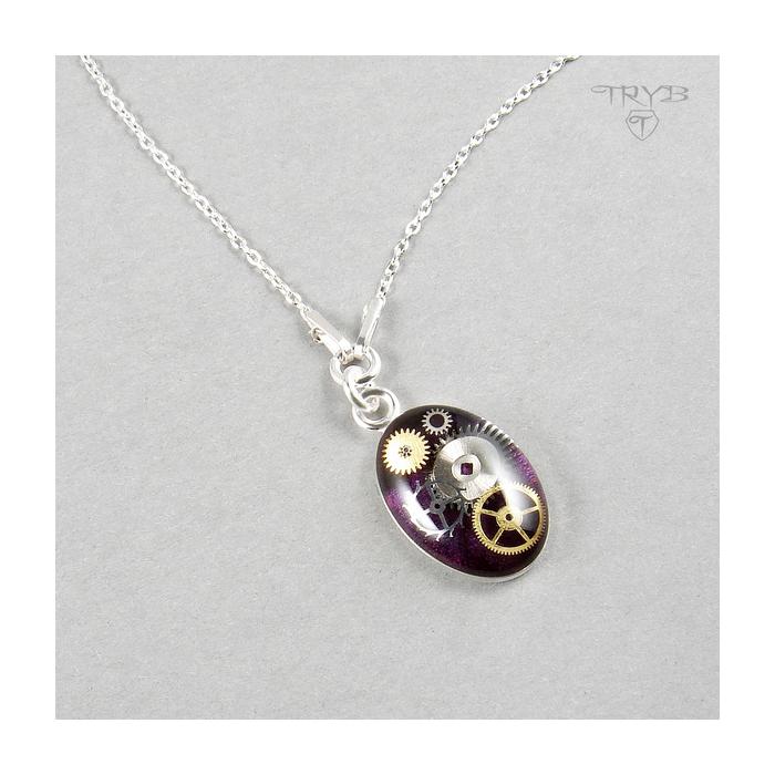 Fioletowy naszyjnik celebrytka ze srebra z prawdziwymi trybikami