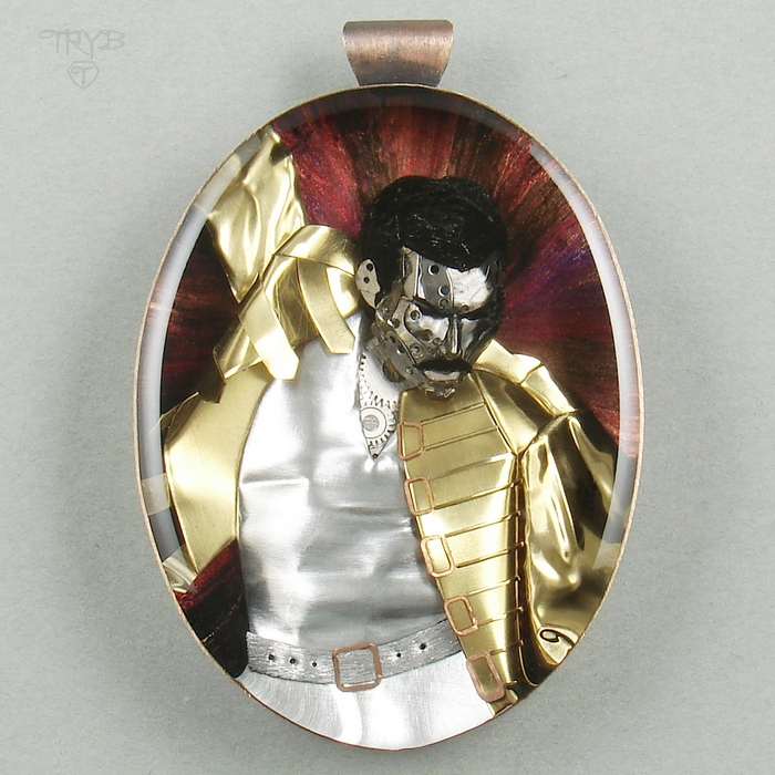 Hand made Freddy Mercury pendant of watch parts - steampunk sculpture of watch parts
