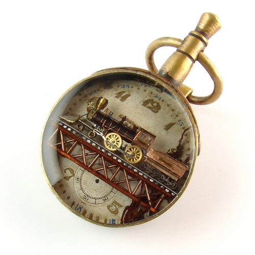 locomotive steampunk pendant - sculptures of watch movements - custom made jewelry
