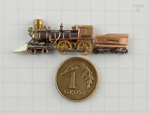 Miniature model of a locomotive made of watch parts