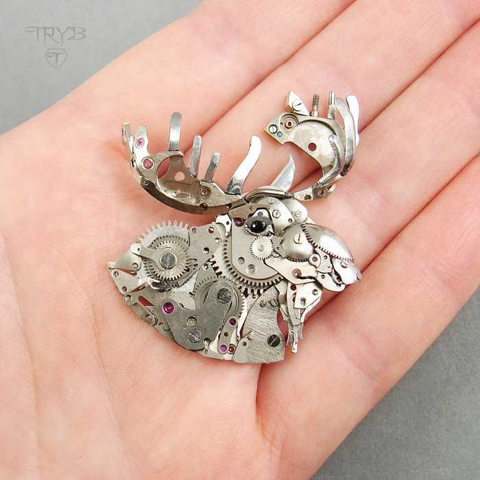 steampunk moose sculpture of watch parts - unique jewelry made to order