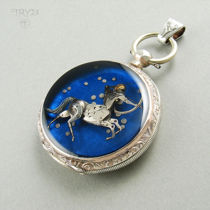 sagittarius pendant - zodiac custom made pendant - jewelry for order - watch parts sculpture