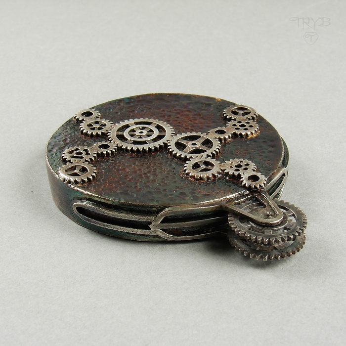 sterling silver pendant - steampunk cogs pendant