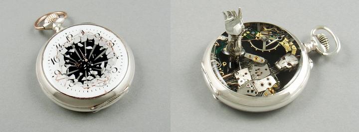 Miniature sculptures of watch movements parts