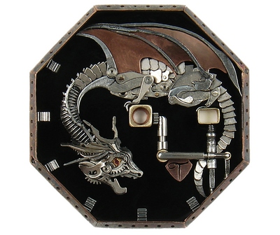 A watch with a dragon on a dial