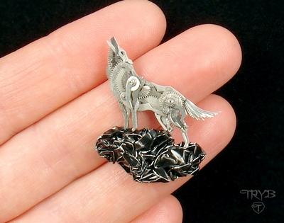 Miniature wolf sculpture of watch parts