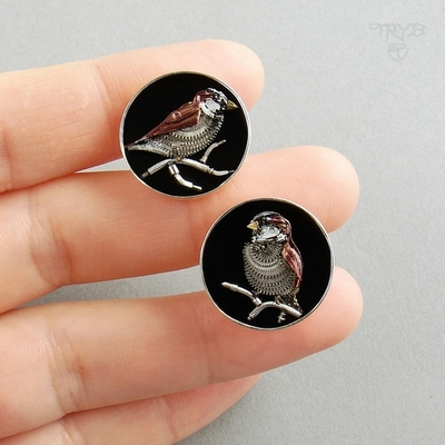 Sparrows cufflins before they were finished with resin